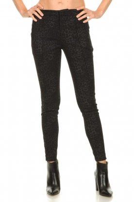 Set |  Trousers with leopard print Yara | black
