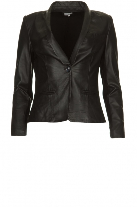 Est-Seven |  Leather blazer Colombre | black