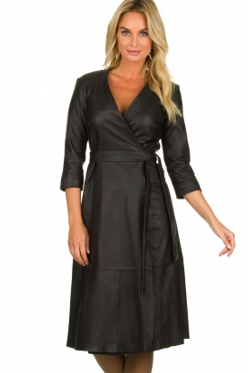Est-Seven |  Leather wrap dress Ella | black