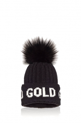 Goldbergh |  Beanie with pompon Hodd | black