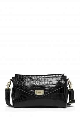 Depeche |  Snakeprint shoulder bag Meryam  | black