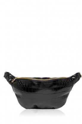 Depeche |  Leather shoulder bag with crocodile print Nala | black