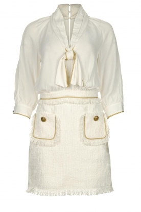 ELISABETTA FRANCHI | Jurk met blouse detail Dolce | wit : Dress with blouse detail Do