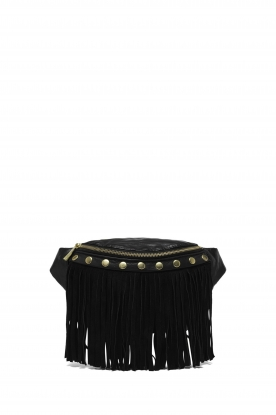 Depeche |  Leather bum bag with fringes | black