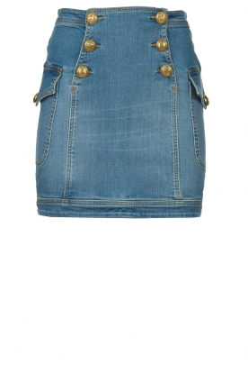 ELISABETTA FRANCHI |  Denim skirt with buttons Festiva | blue