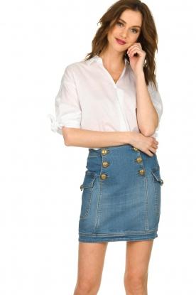 ELISABETTA FRANCHI |  Denim skirt with buttons Festiva | blue