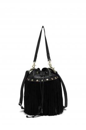 Depeche |  Leather fringe bucket bag Fay | black