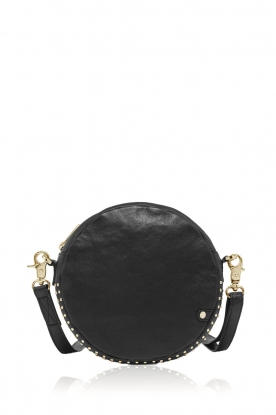 Depeche |  Round shoulder bag with studs Lana | black