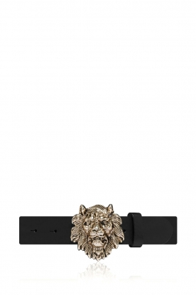 Depeche |  Leather belt with buckle Sia | black
