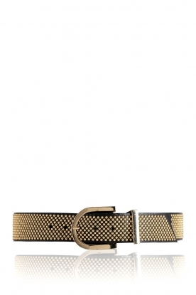 Depeche |  Leather belt with golden studs Lina | black