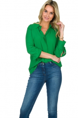 ELISABETTA FRANCHI |  Blouse with chic collar Verde | green