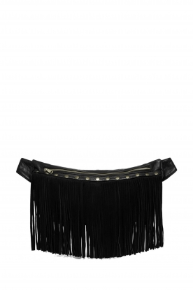 Depeche |  Leather bag with fringes Kiki | black