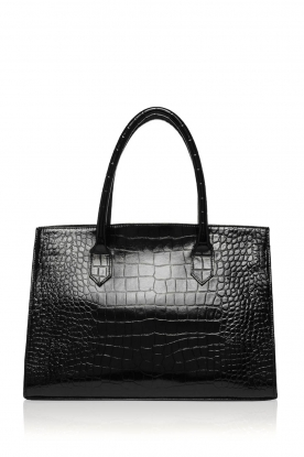 Depeche |  Leather shouder bag with crocodile Juul | black