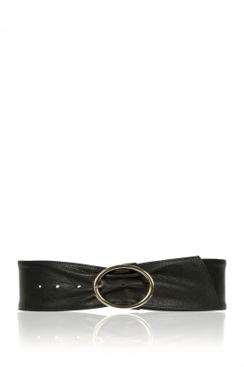 Depeche | Wide leather belt Platino | black
