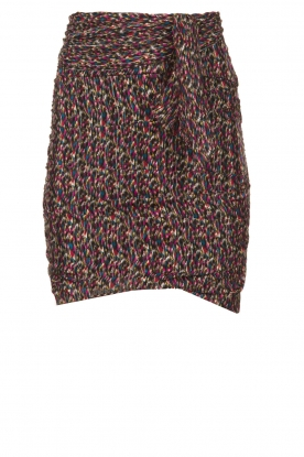 ba&sh |  Print skirt with silk Dina | black