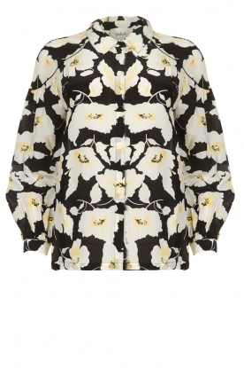 ba&sh |  Floral blouse with silk Fantasy | black