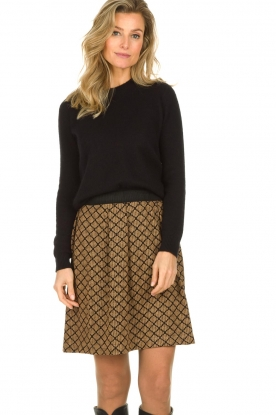 Les Favorites |  Print skirt with lurex Linda | brown