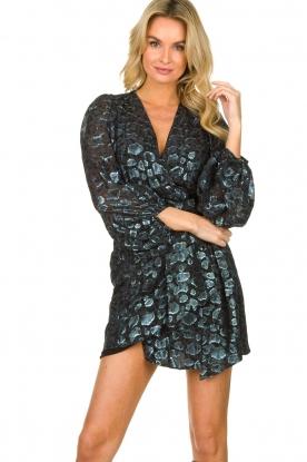 ba&sh |  Wrap dress with leopard print Ginger | blue