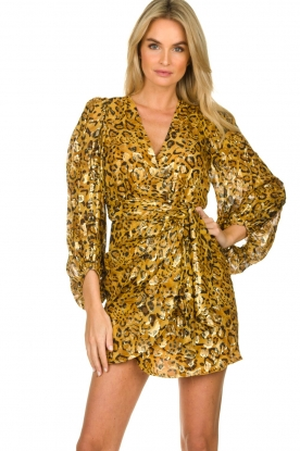ba&sh |  Silk wrap dress with leopard print Ginger | gold