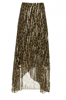 ba&sh |  Silk leopard maxi skirt with lurex Jalvy | animal print