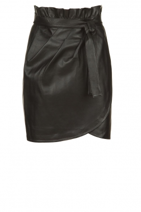 ba&sh |  Leather wrap skirt Luna | black