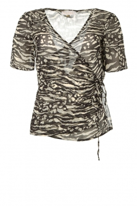Freebird |  Animal printed wrap top Aily | black