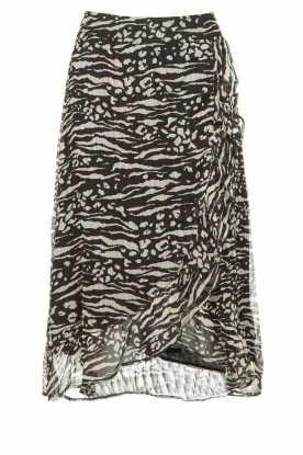 Freebird | Animal printed wrap skirt Alina | black