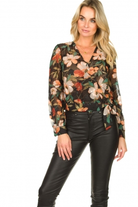 Freebird |  Floral wrap blouse April | black