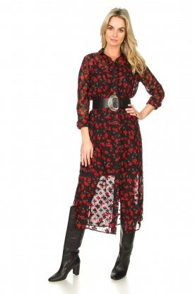 Freebird | Midi-jurk met bloemenprint Helen | zwart