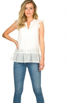 Fracomina |  Lace top with ruffles Veerle |  white