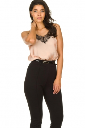 Fracomina |  Shimmering top with lace Mina | nude