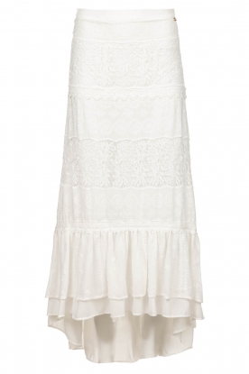 Fracomina |  Maxi skirt  with lace Mediterane | white