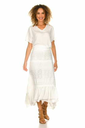 Fracomina |  Maxi skirt  with lace Mediterane | white