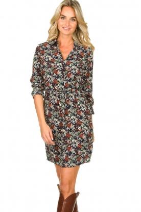 Freebird |  Print dress with drawstring Bridget | blue