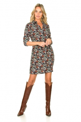 Look Print dress with drawstring Bridget