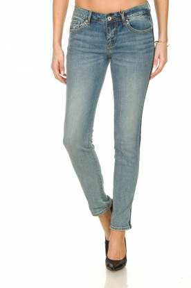 Fracomina |  Skinny jeans with lurex stripes Tina | blue