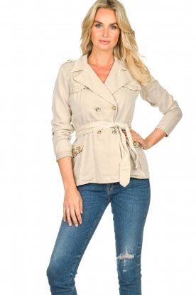 Fracomina |  Short trench coat Perla | natural