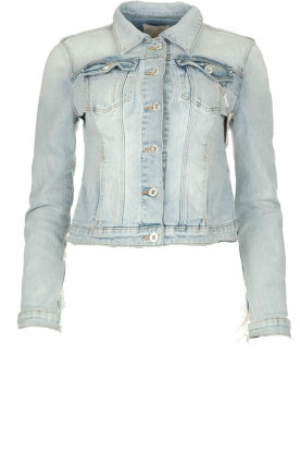 Fracomina | Denim jacket with pearls Perla | blue