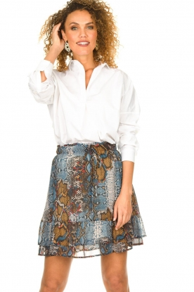 Set |  Snake printed skirt Sizzly | blue