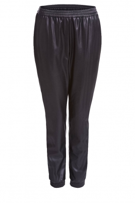 Set |  Leather pants with side stripes Yris | black