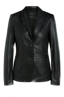 Set |  Leather blazer Kiki | black