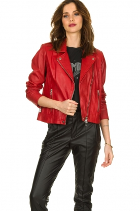 Set |  Leather biker jacket Tyler | red
