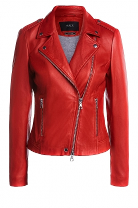 Set |  Leather biker jacket Tyler | red