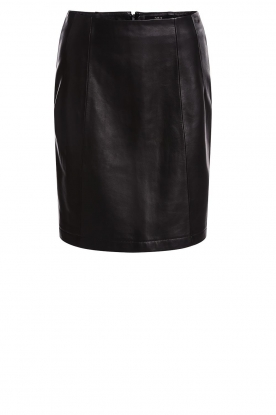 Set |  Leather skirt Butter | black