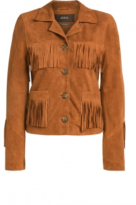 Set |  Leather jacket with fringe Wild West | brown