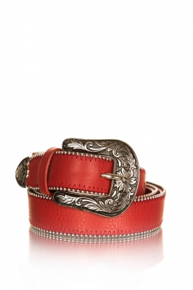 Set |  leather belt with studs Sol | red