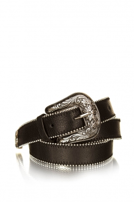 Set |  Leather belt with studs Do | black