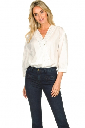 JC Sophie |  Blouse with lace decorations Capri | white