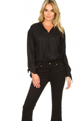 JC Sophie |  Blouse with bow detail Cappuccino | black