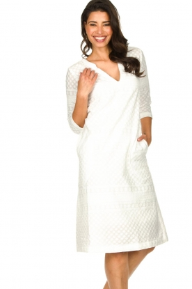 JC Sophie |  Embroidered midi dress Chelsea | white